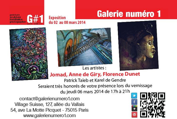 Vernissage 6 mars à la Galerie Numéro 1