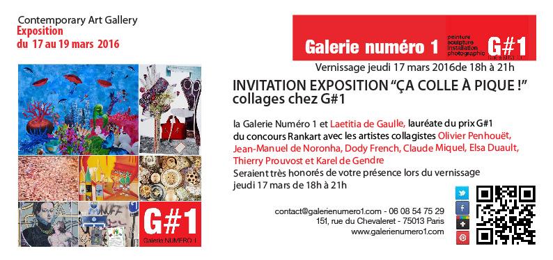 """c'est AUJOURD'HUI jeudi 17 mars Vernissage expo """"ÇA COLLE À PIQUE !"""" collages chez G#1"""